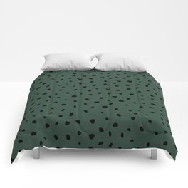 Cheetah Spots animal print minimal wild cat speckles and dots Forest Green Comforters
