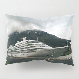 Cruise ship moored on norwegian fjord Pillow Sham