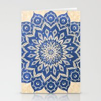 navy Stationery Cards featuring ókshirahm sky mandala by Peter Patrick Barreda