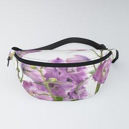 Purple delphinium flowers Fanny Pack