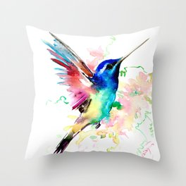 Hummingbird , Blue Turquoise Pink Throw Pillow