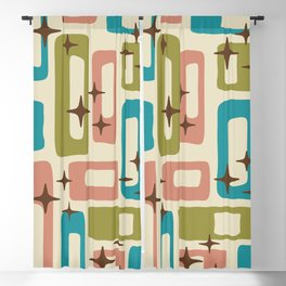 Retro Mid Century Modern Abstract Pattern 623 Olive Blue and Dusty Rose Blackout Curtain