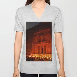 Candlelit Petra Ruins by Moonlight by Sylvain L. Unisex V-Neck