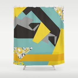 bee' flower geometric Shower Curtain