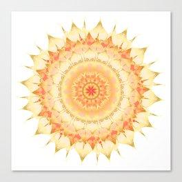 Delicate Mandala orange on white Canvas Print