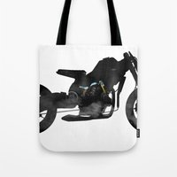 cafe racer Tote Bags featuring cafe racer bike  by Daniele Faro