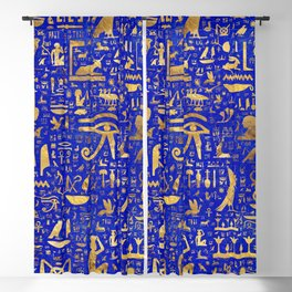 Ancient Egyptian hieroglyphs -Lapis Lazuli and Gold Blackout Curtain