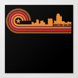 Retro Style Winston-Salem North Carolina Skyline Canvas Print
