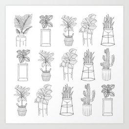 Houseplants Pattern Art Print
