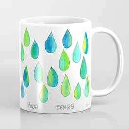 Cherish All of Your Tears blue green pattern tears illustration watercolor inspirational words Coffee Mug