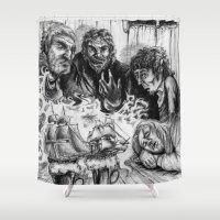 pirates Shower Curtains featuring PIRATES RUMORS by Anna Pietrawska