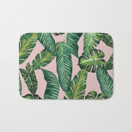 Jungle Leaves, Banana, Monstera II Pink #society6 Bath Mat