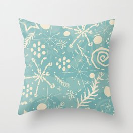 Winter Snowflakes and Doodles Throw Pillow