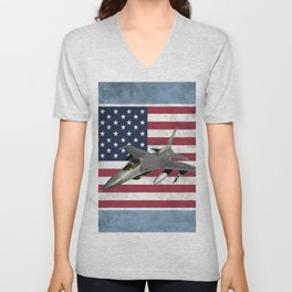 F16 Fighter Jet American Flag Unisex V-Neck