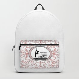 Gymnastics Live Your Dream Collection in Delicate Pink and Grey Design Backpack
