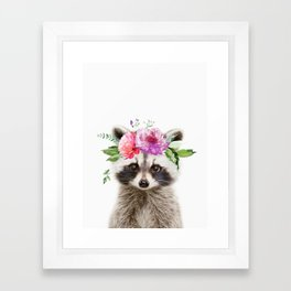 Baby Raccoon with Flower Crown Framed Art Print