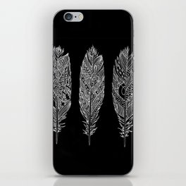Patterned Plumes - White iPhone Skin