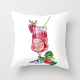 Fruit cocktails with berries and a straw. Throw Pillow