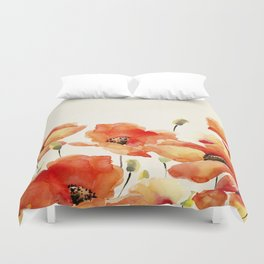 Poppy Flower Meadow- Floral Summer lllustration Duvet Cover