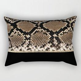 Modern black brown gold snake skin animal print Rectangular Pillow