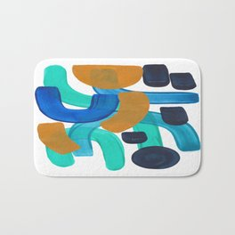 Minimalist Abstract Mid Century Modern Colorful Shapes Marine Green Teal Blue Yellow Pattern Bath Mat