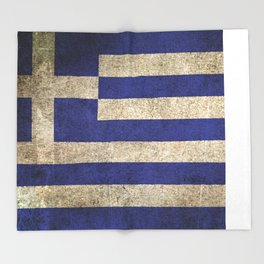 Old and Worn Distressed Vintage Flag of Greece Throw Blanket