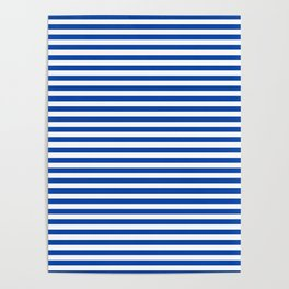 Geometric navy blue white nautical stripes pattern Poster