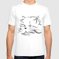 Cat Lines Mens Fitted Tee SMALL White