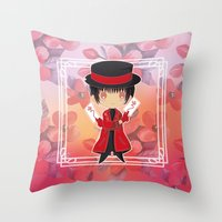 subaru Throw Pillows featuring Chibi Subaru Sumeragi by Neo Crystal Tokyo