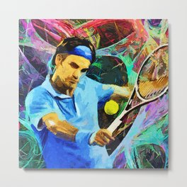 Roger Federer Colorful Metal Print