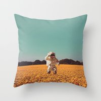 hello Throw Pillows featuring Hello by @slimesunday