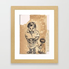 Hungry child crowns Framed Art Print