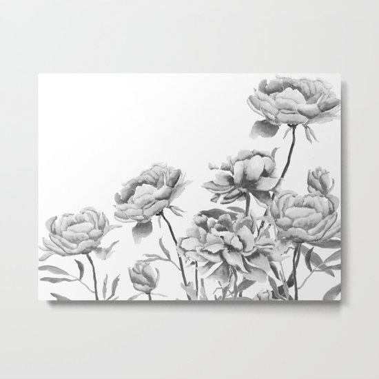 black and white peonies 2 Metal Print