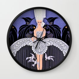 "Art Deco Illustration ""Her Secret Admirers"" by Erté Wall Clock"