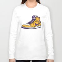 lakers Long Sleeve T-shirts featuring Jordan 1 mid (LA Lakers) by Pancho the Macho