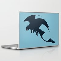 toothless Laptop & iPad Skins featuring Toothless by Dewdroplet