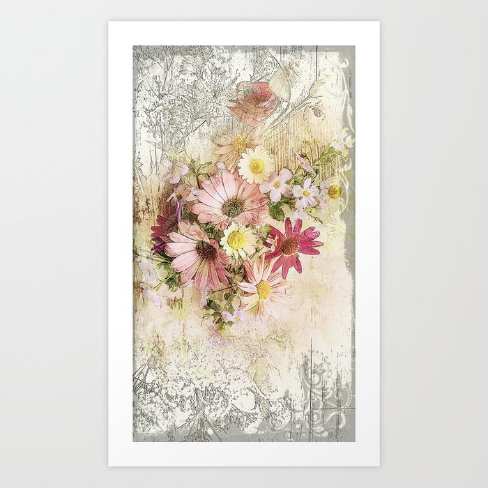 Sugar Sweet Shabby Chic Floral Art Print