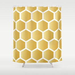 Honeycomb pattern - gold Shower Curtain