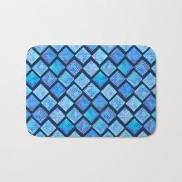Blue Watercolor Tiles with White Texture Bath Mat