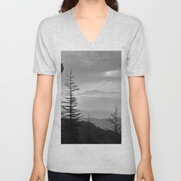 Rainbow clouds at the mountains at sunrise. BW Unisex V-Neck