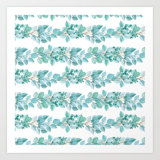 Eucalyptus Stripes Art Print