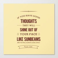 roald dahl Canvas Prints featuring Roald Dahl quote - cream by Dickens ink.