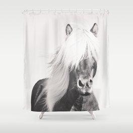 BW Horse, Horse Art, Black and White, Nordic Horse, Horse Print, Boho Decor, Horse Photo Shower Curtain