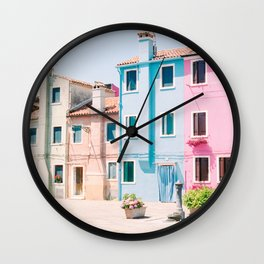 Colorful houses in Burano Wall Clock