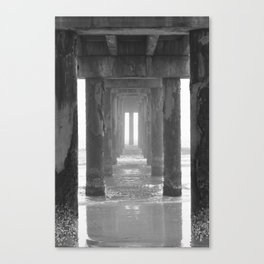 The Fog Rolls In Under The Pier Canvas Print