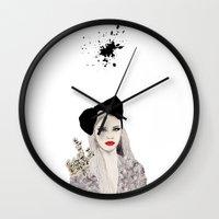 bow Wall Clocks featuring Bow by Melania B