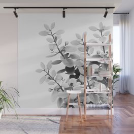 Eucalyptus Leaves Black & White Vibes #1 #foliage #decor #art #society6 Wall Mural