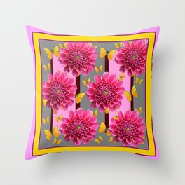 PINK DAHLIAS YELLOW BUTTERFLIES GREY ART Throw Pillow