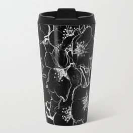 FLOWERS AT MIDNIGHT - IN BLACK & WHITE Travel Mug