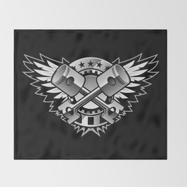 Crossed Pistons and Wings with Stars and Stripes Logo for the Car and Motorcycle Enthusiast Throw Blanket